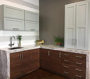 kitchen cabinet display at our hopkinton showroom